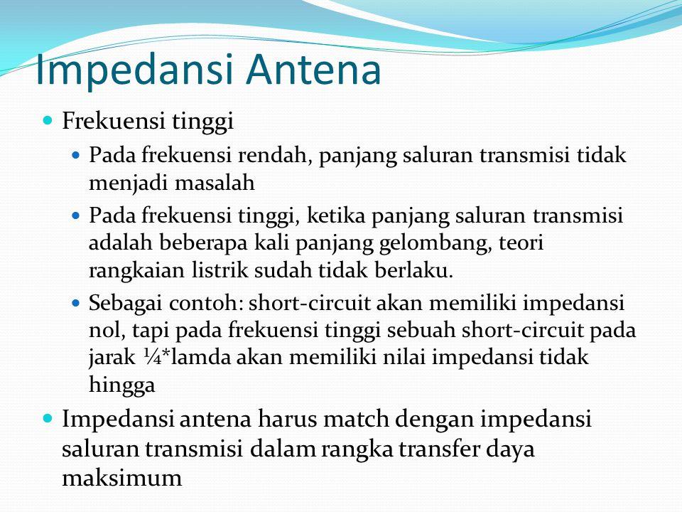 Impedansi Antena Frekuensi tinggi Pada frekuensi rendah, panjang saluran transmisi tidak menjadi masalah Pada frekuensi tinggi, ketika panjang saluran
