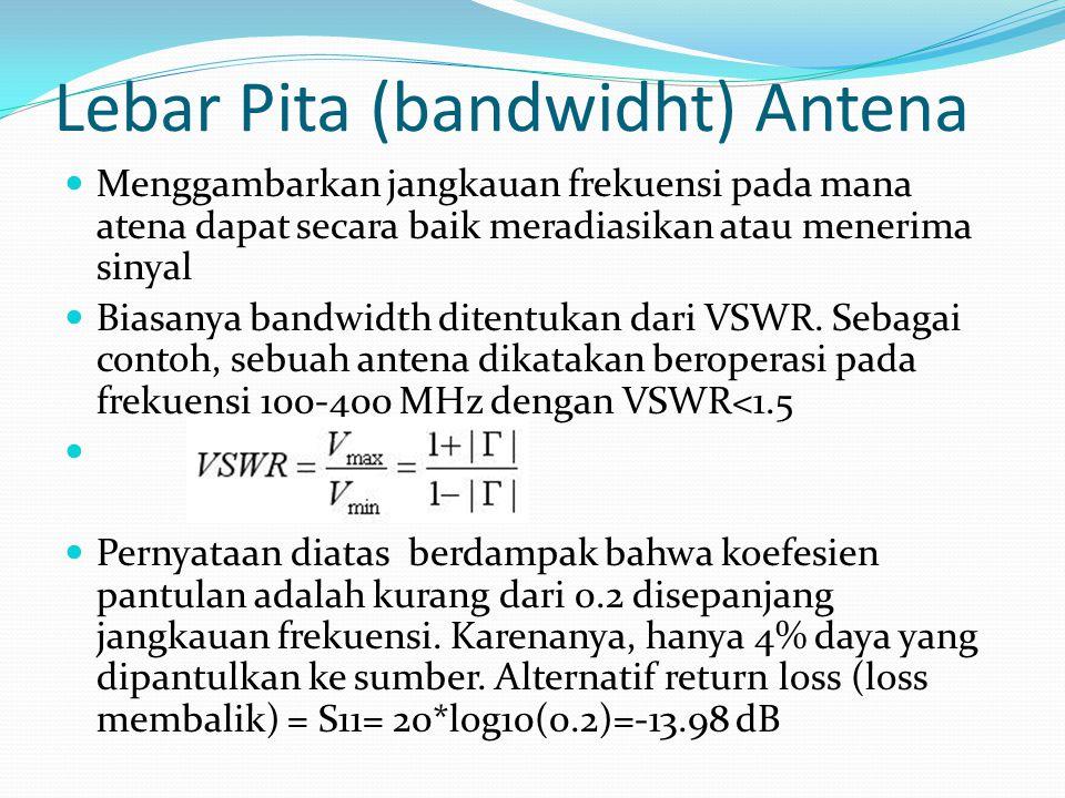 Lebar Pita (bandwidht) Antena Menggambarkan jangkauan frekuensi pada mana atena dapat secara baik meradiasikan atau menerima sinyal Biasanya bandwidth