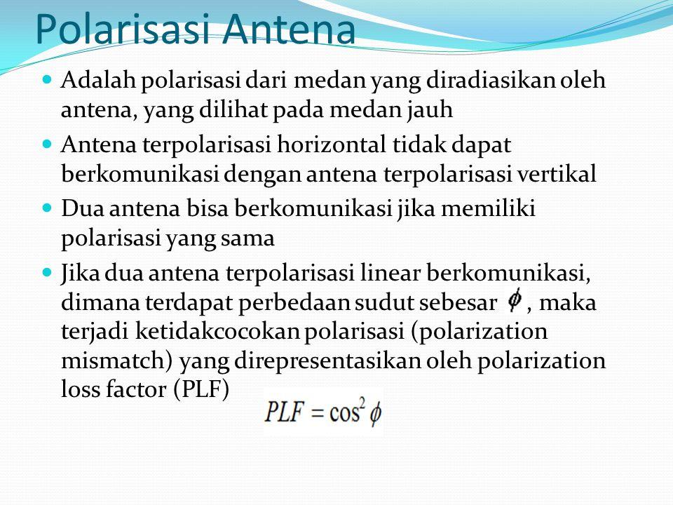 Polarisasi Antena Adalah polarisasi dari medan yang diradiasikan oleh antena, yang dilihat pada medan jauh Antena terpolarisasi horizontal tidak dapat