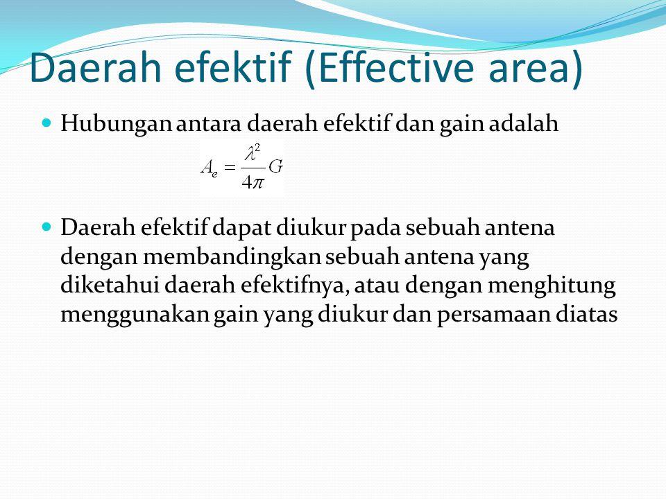 Daerah efektif (Effective area) Hubungan antara daerah efektif dan gain adalah Daerah efektif dapat diukur pada sebuah antena dengan membandingkan seb