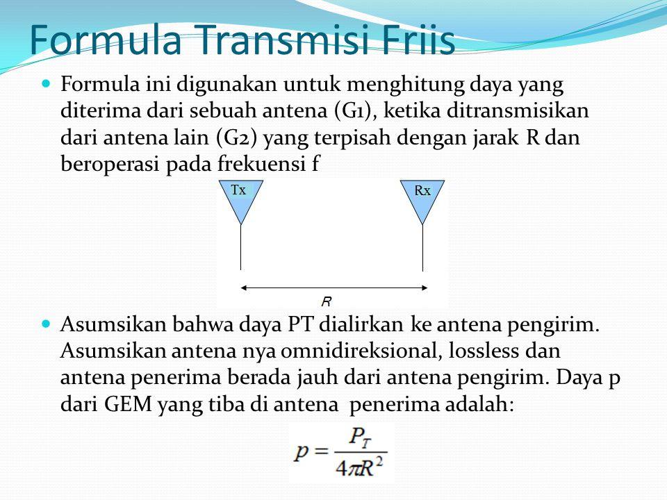 Formula Transmisi Friis Formula ini digunakan untuk menghitung daya yang diterima dari sebuah antena (G1), ketika ditransmisikan dari antena lain (G2)