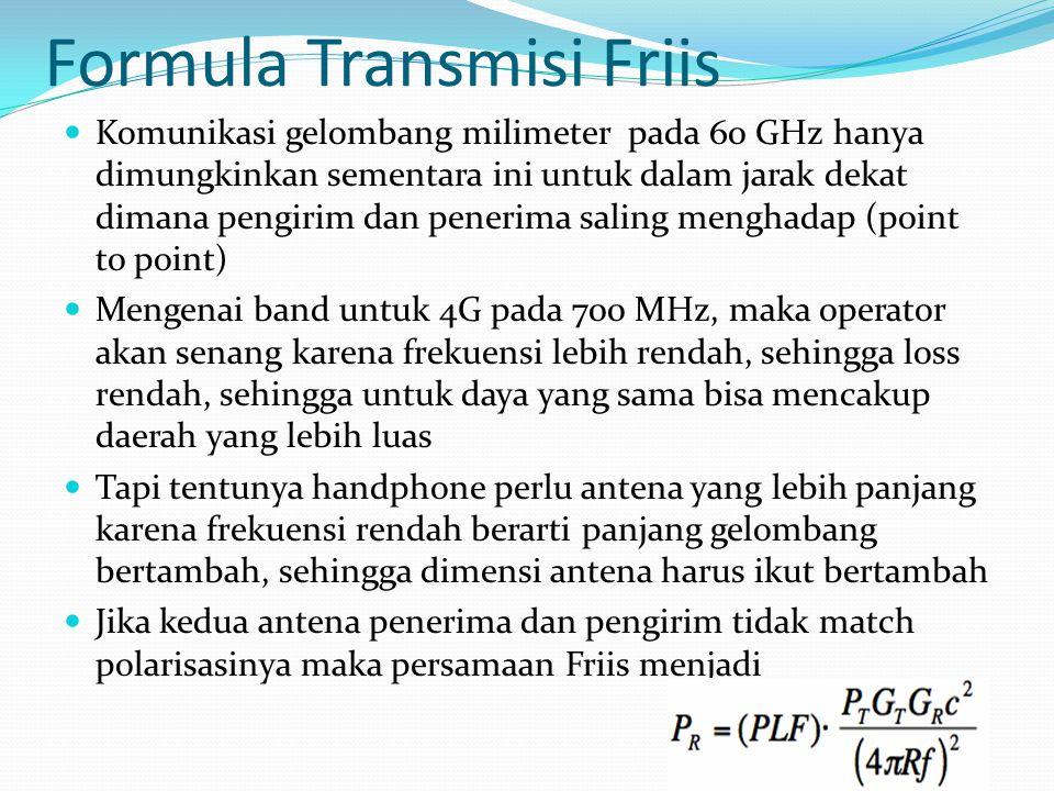 Formula Transmisi Friis Komunikasi gelombang milimeter pada 60 GHz hanya dimungkinkan sementara ini untuk dalam jarak dekat dimana pengirim dan peneri