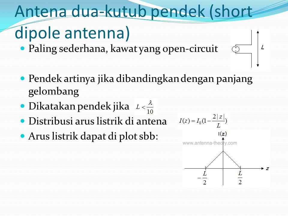 Antena dua-kutub pendek (short dipole antenna) Paling sederhana, kawat yang open-circuit Pendek artinya jika dibandingkan dengan panjang gelombang Dik
