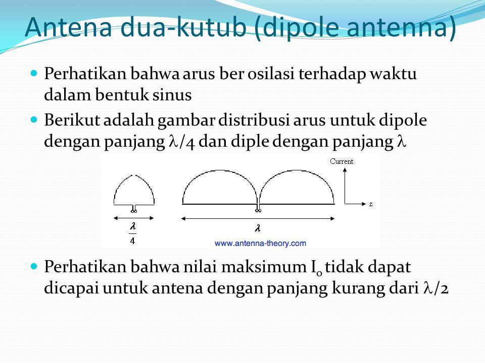 Antena dua-kutub (dipole antenna) Perhatikan bahwa arus ber osilasi terhadap waktu dalam bentuk sinus Berikut adalah gambar distribusi arus untuk dipo