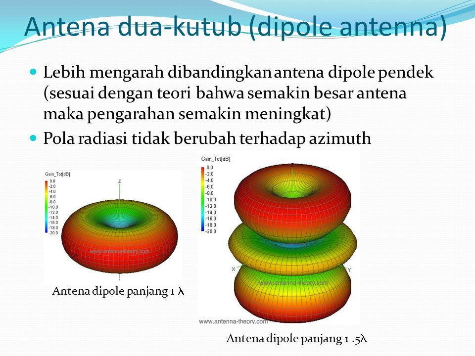Antena dua-kutub (dipole antenna) Lebih mengarah dibandingkan antena dipole pendek (sesuai dengan teori bahwa semakin besar antena maka pengarahan sem