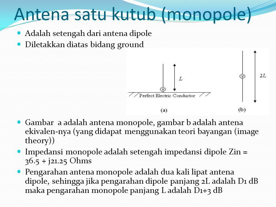 Antena satu kutub (monopole) Adalah setengah dari antena dipole Diletakkan diatas bidang ground Gambar a adalah antena monopole, gambar b adalah anten