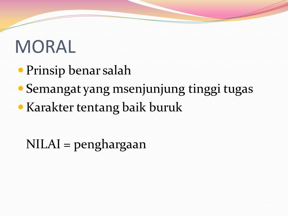 MORAL Prinsip benar salah Semangat yang msenjunjung tinggi tugas Karakter tentang baik buruk NILAI = penghargaan