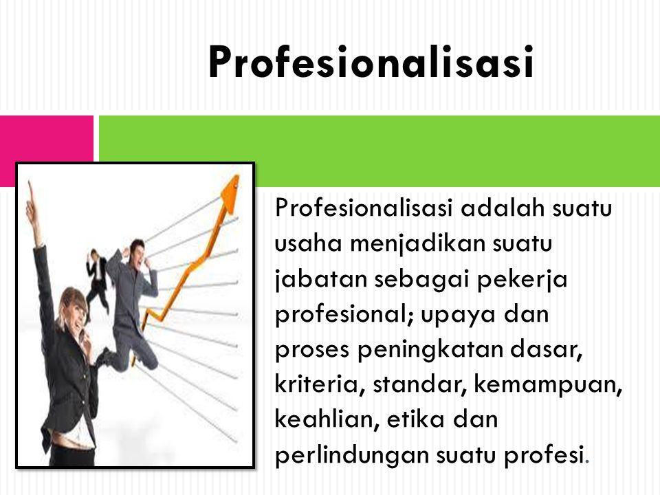 Profesionalisasi adalah suatu usaha menjadikan suatu jabatan sebagai pekerja profesional; upaya dan proses peningkatan dasar, kriteria, standar, kemam