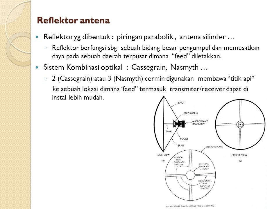 Antena Cassegrain Memiliki sebaran kebelakang drpd antena parabola sederhana.