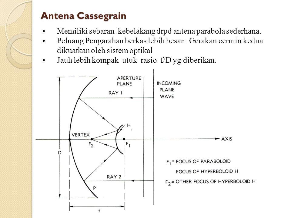 Antena Cassegrain (2) Gain bergantung pd diameter, panjang gelombang, pencahayaan Apertur efektif dibatasi oleh ketepatan permukaan dan halangan Pelat terskala bergantung pd panjang focal ekivalen.
