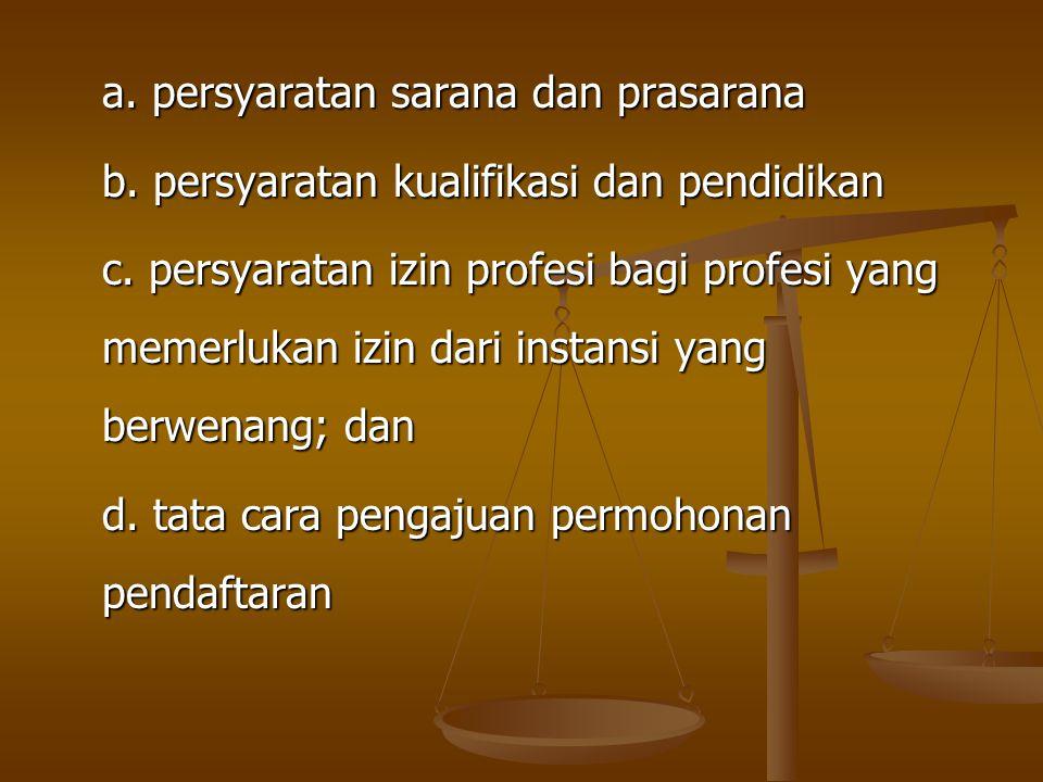 a. persyaratan sarana dan prasarana b. persyaratan kualifikasi dan pendidikan c. persyaratan izin profesi bagi profesi yang memerlukan izin dari insta