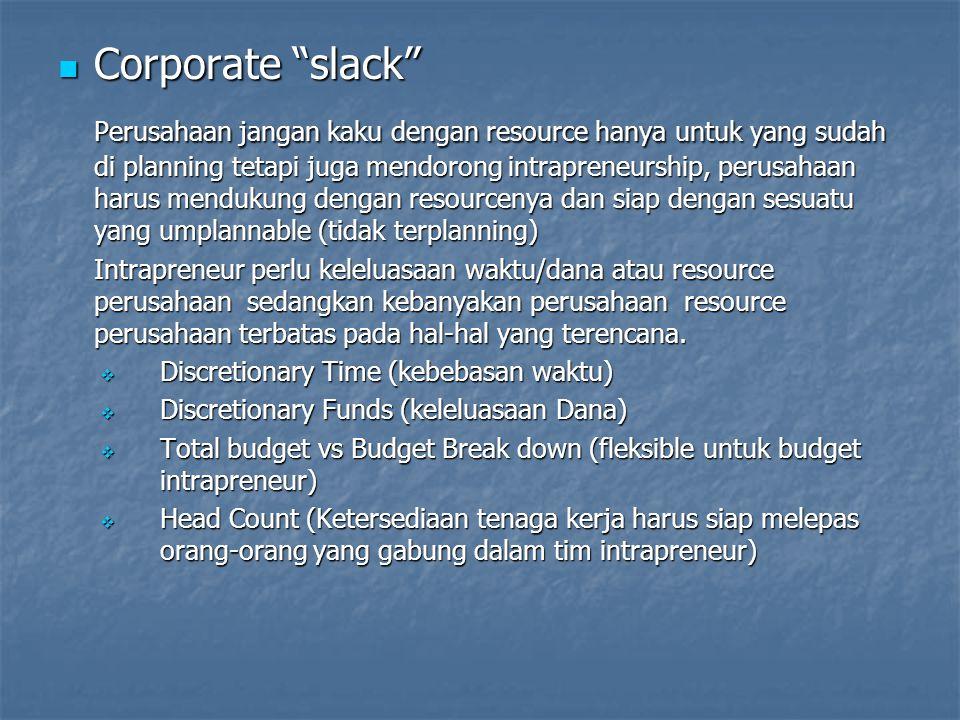 """Corporate """"slack"""" Corporate """"slack"""" Perusahaan jangan kaku dengan resource hanya untuk yang sudah di planning tetapi juga mendorong intrapreneurship,"""