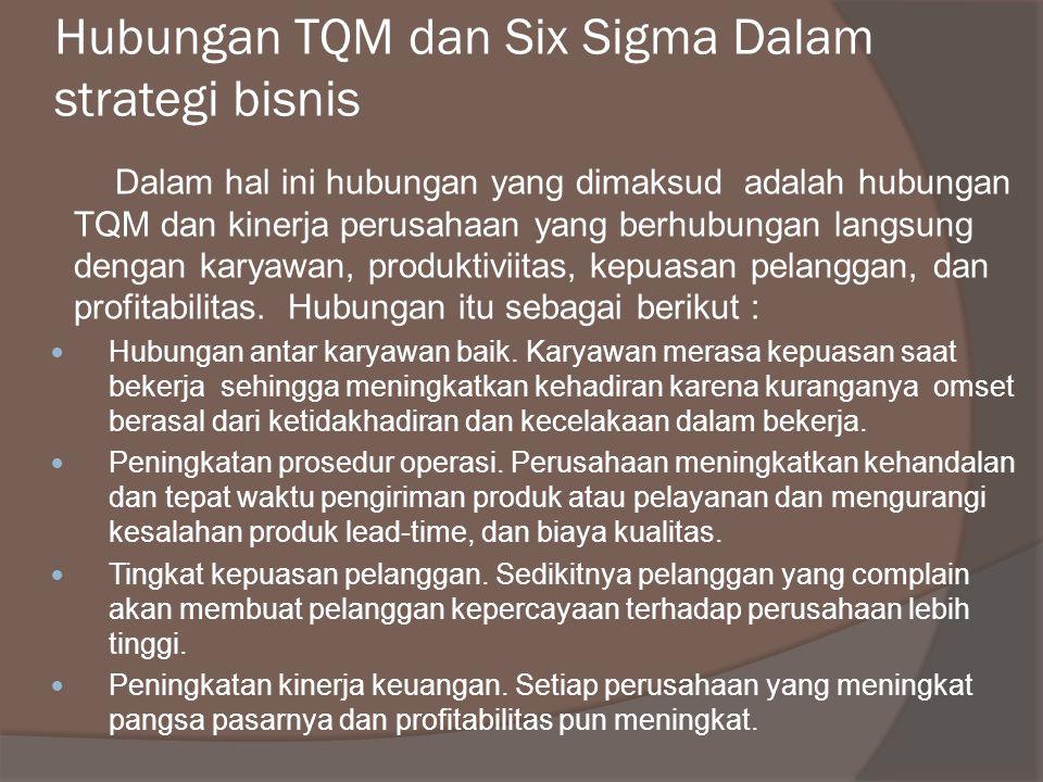 Hubungan TQM dan Six Sigma Dalam strategi bisnis Dalam hal ini hubungan yang dimaksud adalah hubungan TQM dan kinerja perusahaan yang berhubungan langsung dengan karyawan, produktiviitas, kepuasan pelanggan, dan profitabilitas.