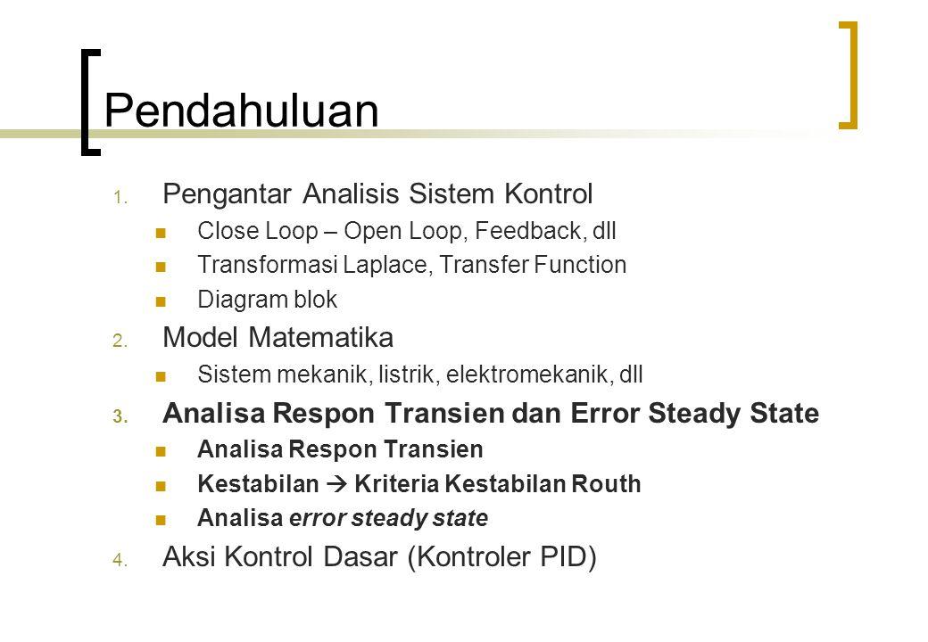Pendahuluan Setelah menurunkan model matematika sistem  menganalisa kinerja sistem.