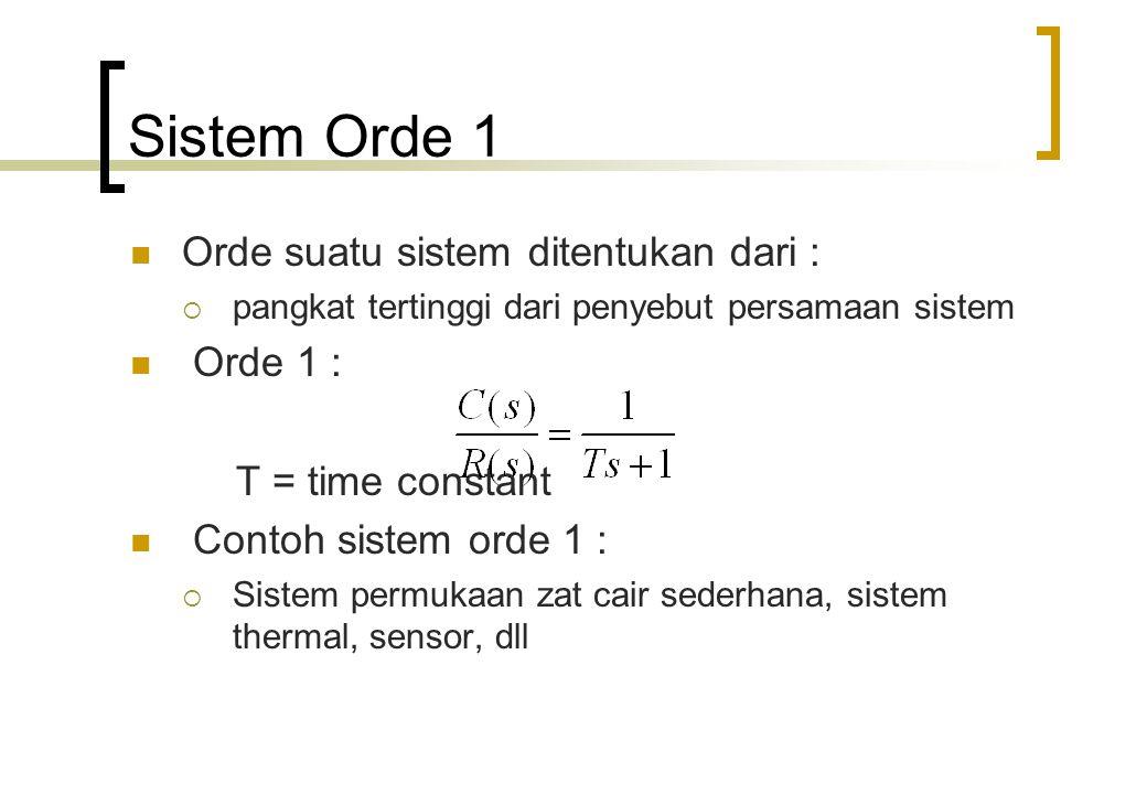 Sistem Orde 1 Orde suatu sistem ditentukan dari :  pangkat tertinggi dari penyebut persamaan sistem Orde 1 : T = time constant Contoh sistem orde 1 :  Sistem permukaan zat cair sederhana, sistem thermal, sensor, dll