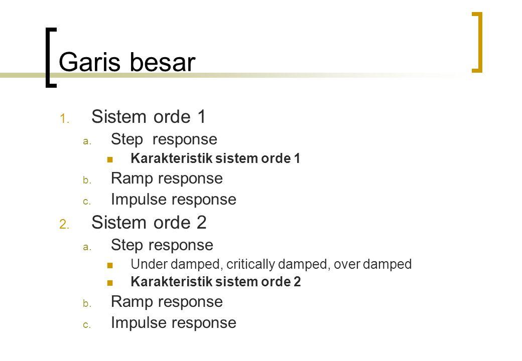 Garis besar 1.Sistem orde 1 a. Step response Karakteristik sistem orde 1 b.