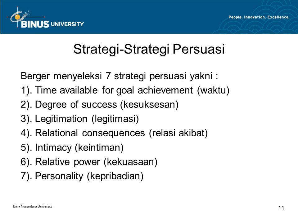 Strategi-Strategi Persuasi Berger menyeleksi 7 strategi persuasi yakni : 1).