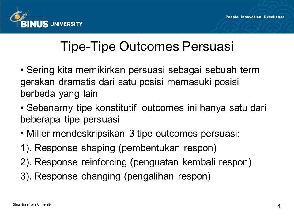 Tipe-Tipe Outcomes Persuasi Sering kita memikirkan persuasi sebagai sebuah term gerakan dramatis dari satu posisi memasuki posisi berbeda yang lain Sebenarny tipe konstitutif outcomes ini hanya satu dari beberapa tipe persuasi Miller mendeskripsikan 3 tipe outcomes persuasi: 1).