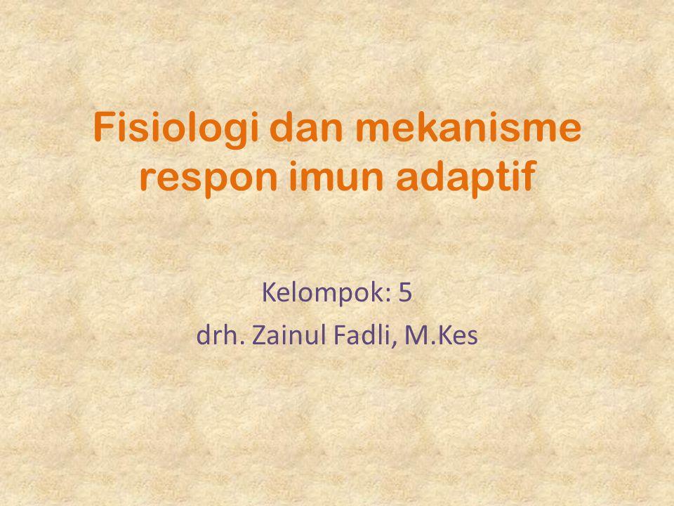 Fisiologi dan mekanisme respon imun adaptif Kelompok: 5 drh. Zainul Fadli, M.Kes