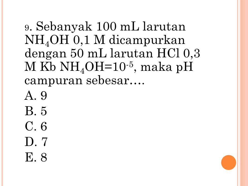 9. Sebanyak 100 mL larutan NH 4 OH 0,1 M dicampurkan dengan 50 mL larutan HCl 0,3 M Kb NH 4 OH=10 -5, maka pH campuran sebesar…. A. 9 B. 5 C. 6 D. 7 E