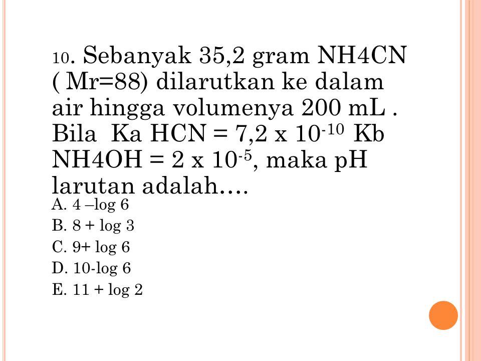 10. Sebanyak 35,2 gram NH4CN ( Mr=88) dilarutkan ke dalam air hingga volumenya 200 mL. Bila Ka HCN = 7,2 x 10 -10 Kb NH4OH = 2 x 10 -5, maka pH laruta
