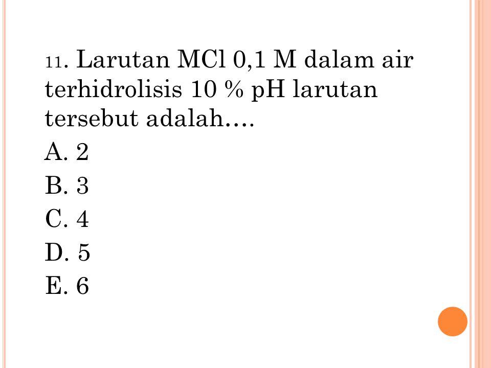 11. Larutan MCl 0,1 M dalam air terhidrolisis 10 % pH larutan tersebut adalah…. A. 2 B. 3 C. 4 D. 5 E. 6