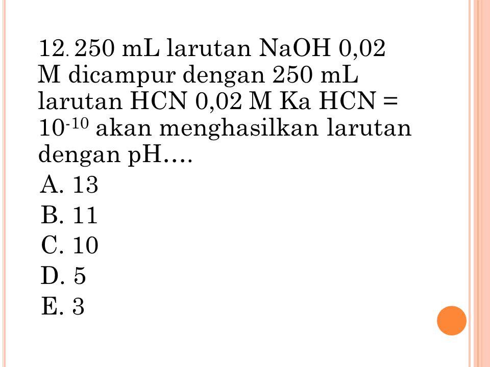 12. 250 mL larutan NaOH 0,02 M dicampur dengan 250 mL larutan HCN 0,02 M Ka HCN = 10 -10 akan menghasilkan larutan dengan pH…. A. 13 B. 11 C. 10 D. 5