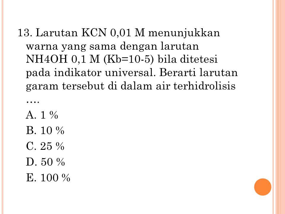 13. Larutan KCN 0,01 M menunjukkan warna yang sama dengan larutan NH4OH 0,1 M (Kb=10-5) bila ditetesi pada indikator universal. Berarti larutan garam