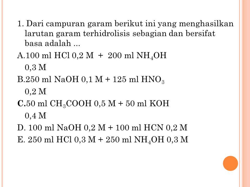 1. Dari campuran garam berikut ini yang menghasilkan larutan garam terhidrolisis sebagian dan bersifat basa adalah... A.100 ml HCl 0,2 M + 200 ml NH 4