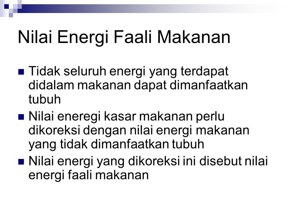 Nilai Energi Faali Makanan Tidak seluruh energi yang terdapat didalam makanan dapat dimanfaatkan tubuh Nilai eneregi kasar makanan perlu dikoreksi dengan nilai energi makanan yang tidak dimanfaatkan tubuh Nilai energi yang dikoreksi ini disebut nilai energi faali makanan