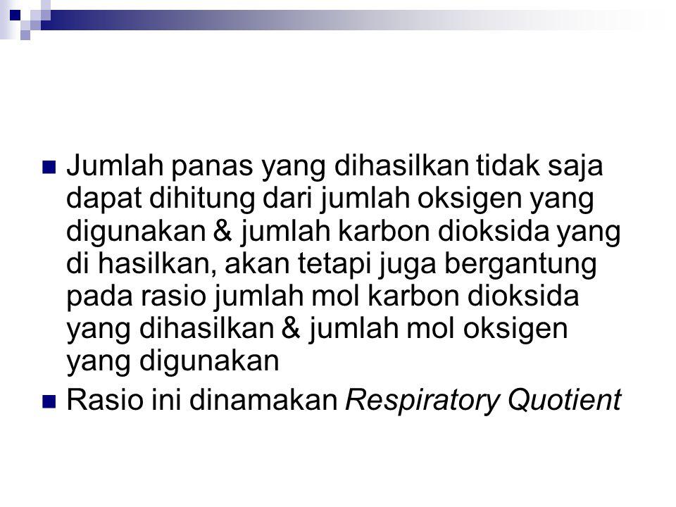 Jumlah panas yang dihasilkan tidak saja dapat dihitung dari jumlah oksigen yang digunakan & jumlah karbon dioksida yang di hasilkan, akan tetapi juga bergantung pada rasio jumlah mol karbon dioksida yang dihasilkan & jumlah mol oksigen yang digunakan Rasio ini dinamakan Respiratory Quotient