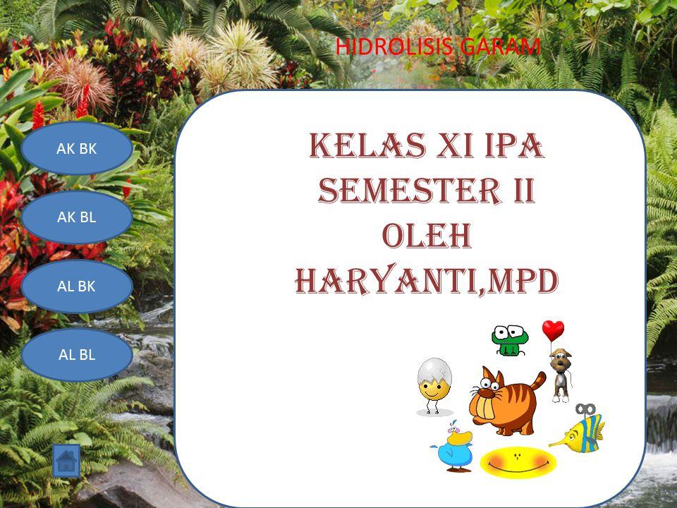 HIDROLISIS GARAM AK BK AK BL AL BK AL BL KELAS XI IPA SEMESTER II OLEH HARYANTI,MPd