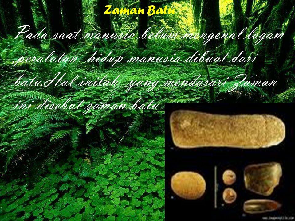 Zaman paLAEOLITHIKUM ATAU ZAMAN BATU TUA PADA Zaman palaeolithium peralatan manusia dibuat dari batu yang di kerjakan secara kasar