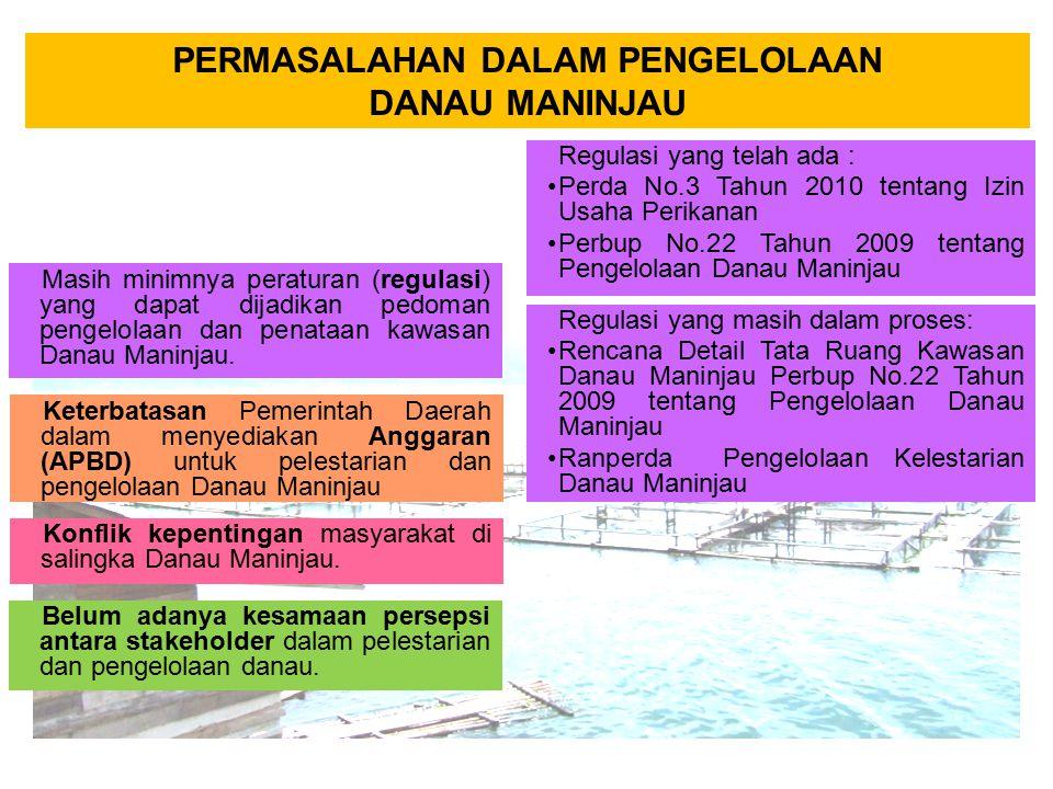 PERMASALAHAN DALAM PENGELOLAAN DANAU MANINJAU Masih minimnya peraturan (regulasi) yang dapat dijadikan pedoman pengelolaan dan penataan kawasan Danau
