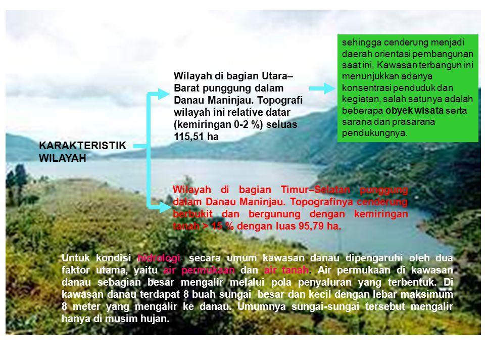 KARAKTERISTIK WILAYAH Wilayah di bagian Utara– Barat punggung dalam Danau Maninjau. Topografi wilayah ini relative datar (kemiringan 0-2 %) seluas 115