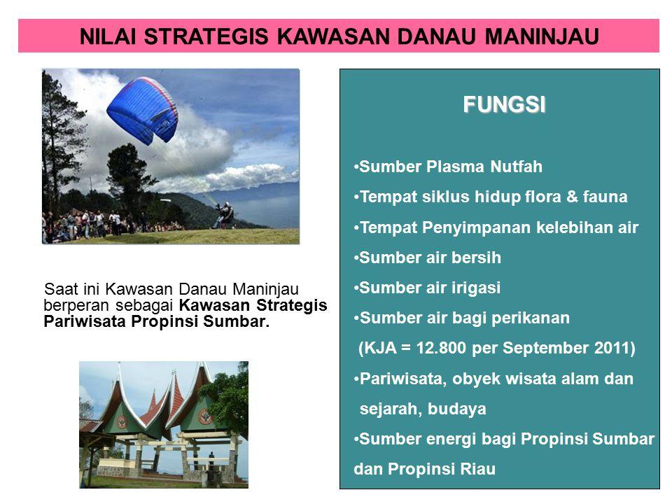 Saat ini Kawasan Danau Maninjau berperan sebagai Kawasan Strategis Pariwisata Propinsi Sumbar. Sumber Plasma Nutfah Tempat siklus hidup flora & fauna