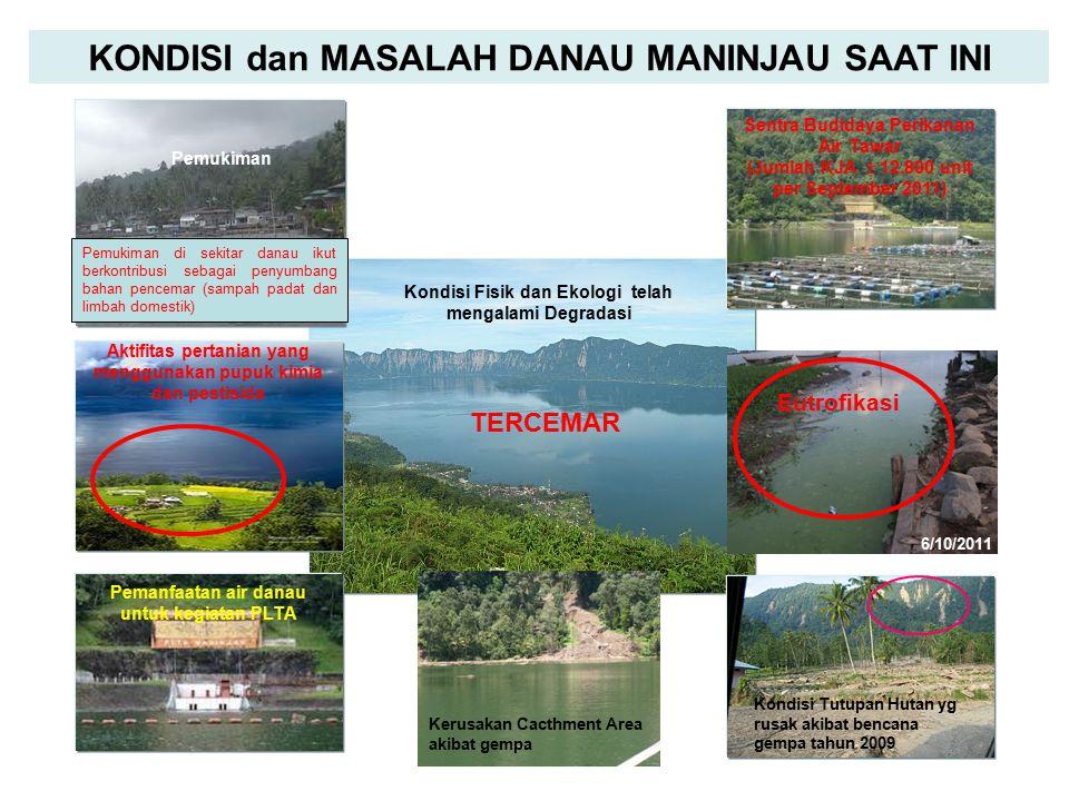 KONDISI dan MASALAH DANAU MANINJAU SAAT INI Kondisi Fisik dan Ekologi telah mengalami Degradasi TERCEMAR Pemukiman Eutrofikasi 6/10/2011 Kondisi Tutup