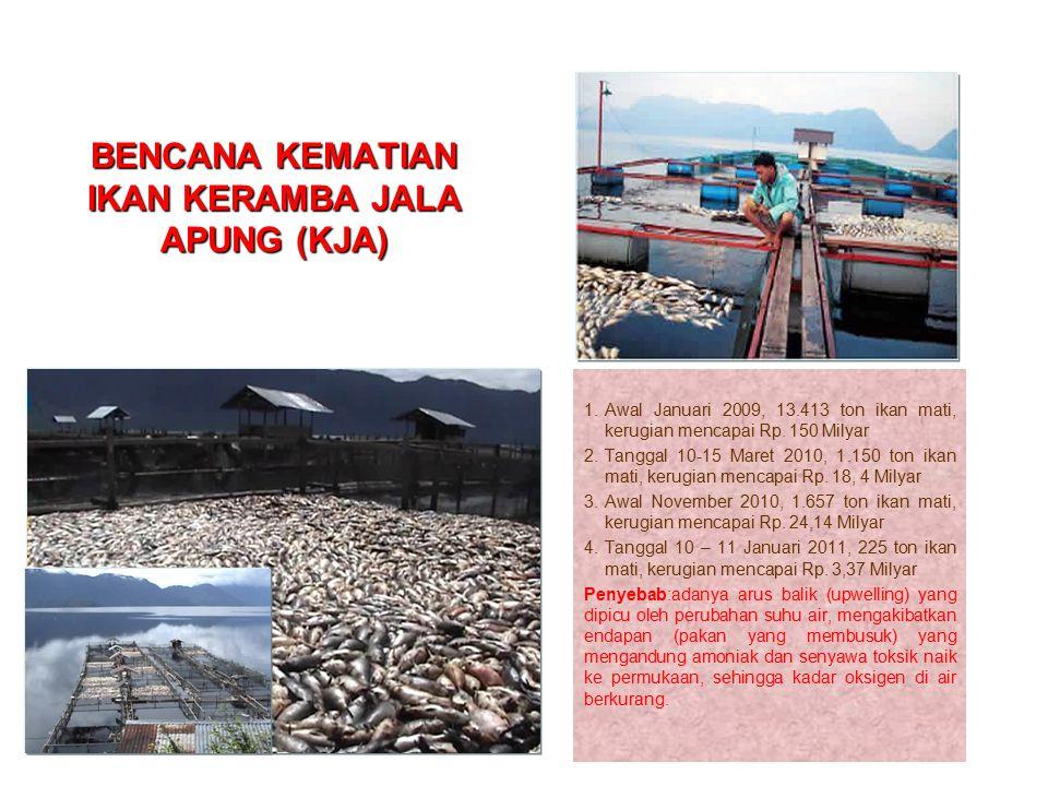 BENCANA KEMATIAN IKAN KERAMBA JALA APUNG (KJA) 1.Awal Januari 2009, 13.413 ton ikan mati, kerugian mencapai Rp. 150 Milyar 2.Tanggal 10-15 Maret 2010,