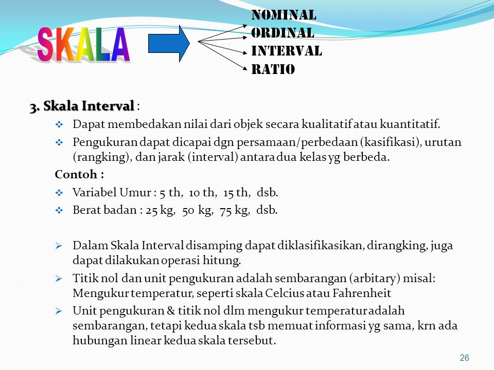 NOMINAL ORDINAL INTERVAL RATIO 3.Skala Interval 3.