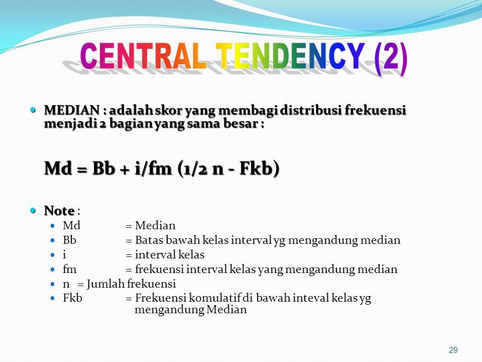 MEDIAN : adalah skor yang membagi distribusi frekuensi menjadi 2 bagian yang sama besar : MEDIAN : adalah skor yang membagi distribusi frekuensi menjadi 2 bagian yang sama besar : Md = Bb + i/fm (1/2 n - Fkb) Note Note : Md = Median Bb = Batas bawah kelas interval yg mengandung median i = interval kelas fm = frekuensi interval kelas yang mengandung median n = Jumlah frekuensi Fkb = Frekuensi komulatif di bawah inteval kelas yg mengandung Median 29