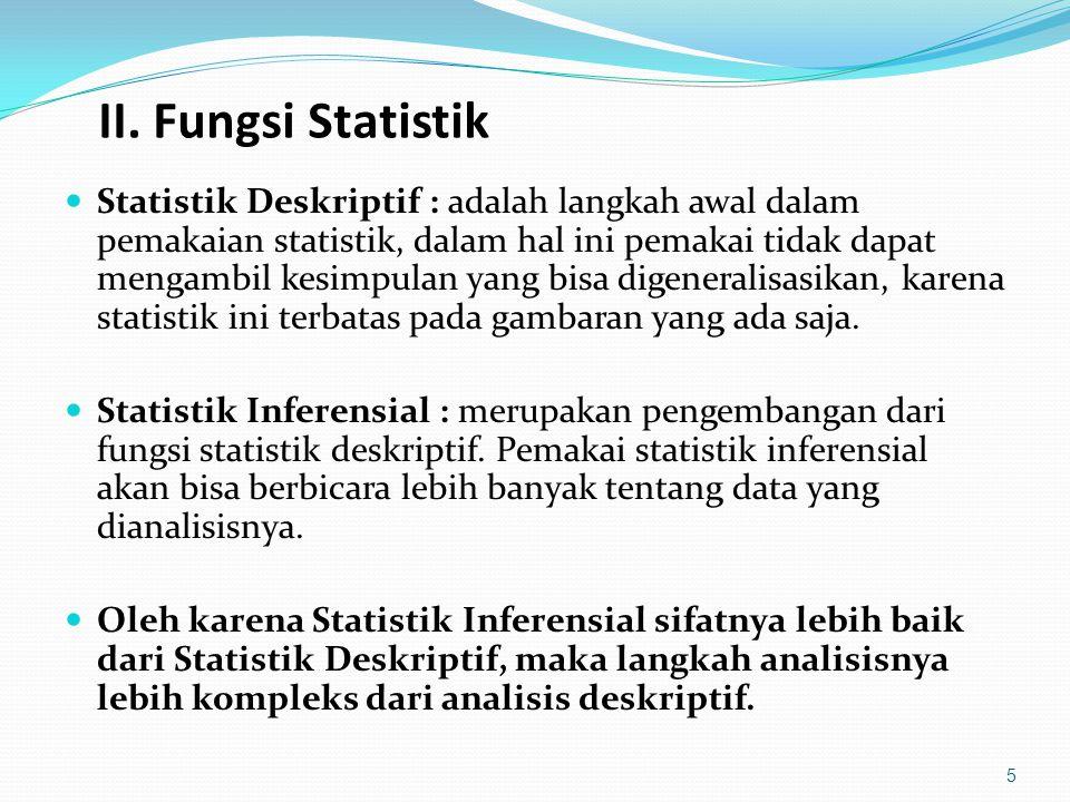 II. Fungsi Statistik Statistik Deskriptif : adalah langkah awal dalam pemakaian statistik, dalam hal ini pemakai tidak dapat mengambil kesimpulan yang