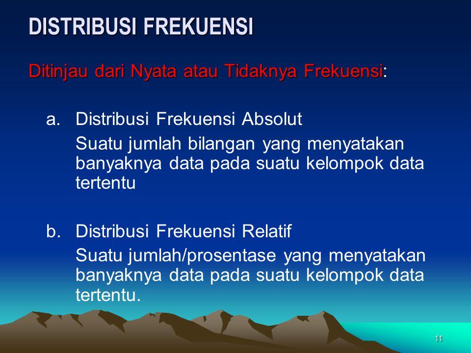 11 DISTRIBUSI FREKUENSI Ditinjau dari Nyata atau Tidaknya Frekuensi Ditinjau dari Nyata atau Tidaknya Frekuensi: a. Distribusi Frekuensi Absolut Suatu
