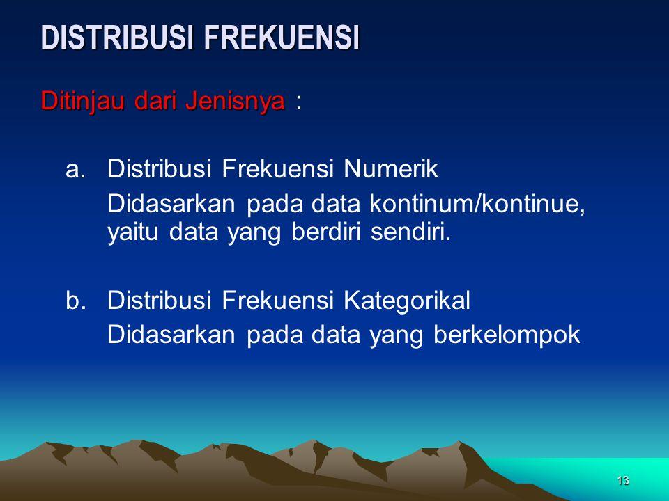 13 DISTRIBUSI FREKUENSI Ditinjau dari Jenisnya Ditinjau dari Jenisnya : a. Distribusi Frekuensi Numerik Didasarkan pada data kontinum/kontinue, yaitu