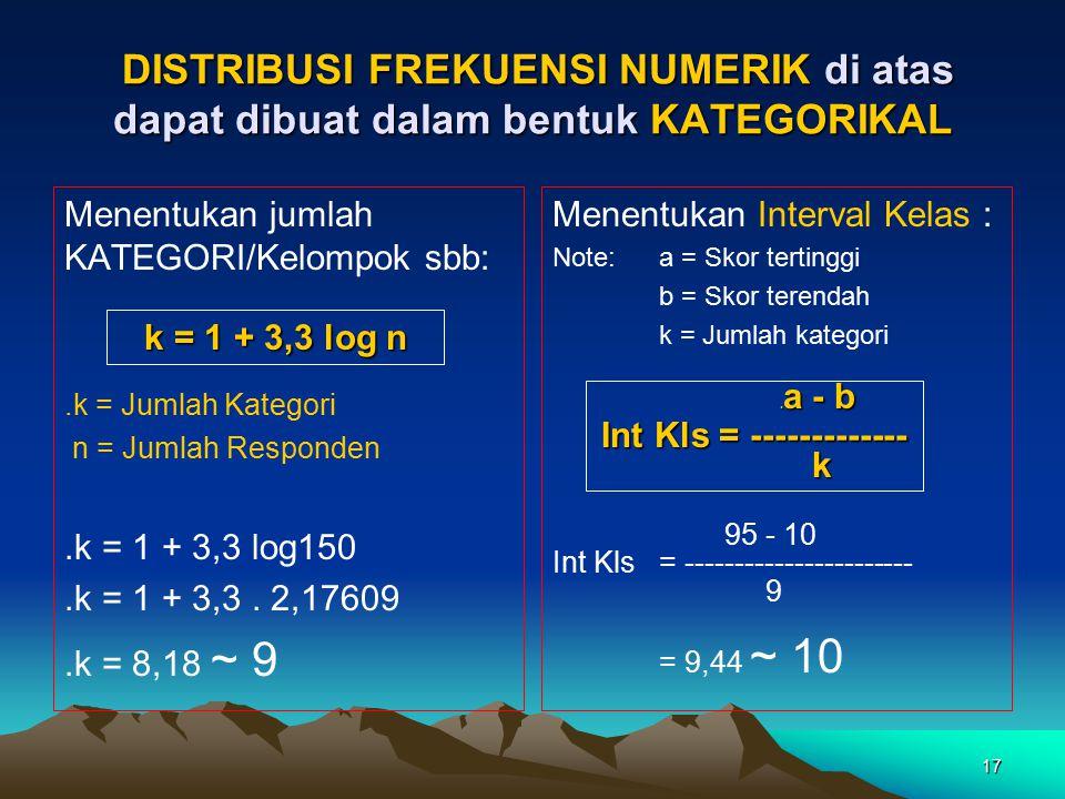 17 DISTRIBUSI FREKUENSI NUMERIK di atas dapat dibuat dalam bentuk KATEGORIKAL DISTRIBUSI FREKUENSI NUMERIK di atas dapat dibuat dalam bentuk KATEGORIK