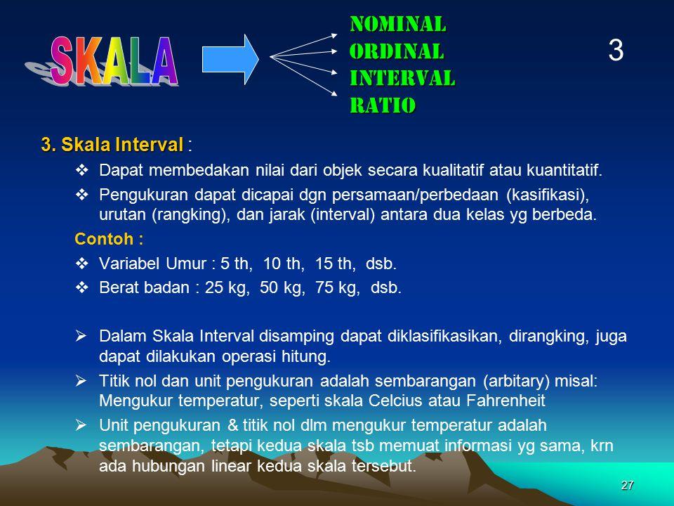 27 NOMINAL ORDINAL INTERVAL RATIO 3. Skala Interval 3. Skala Interval :  Dapat membedakan nilai dari objek secara kualitatif atau kuantitatif.  Peng
