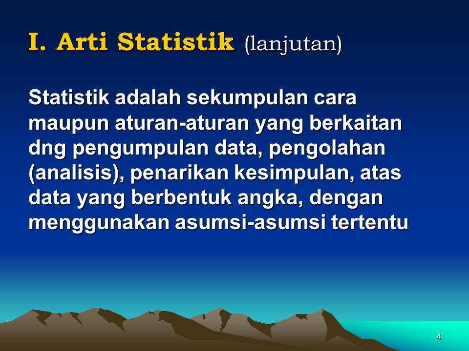 4 I. Arti Statistik (lanjutan) Statistik adalah sekumpulan cara maupun aturan-aturan yang berkaitan dng pengumpulan data, pengolahan (analisis), penar