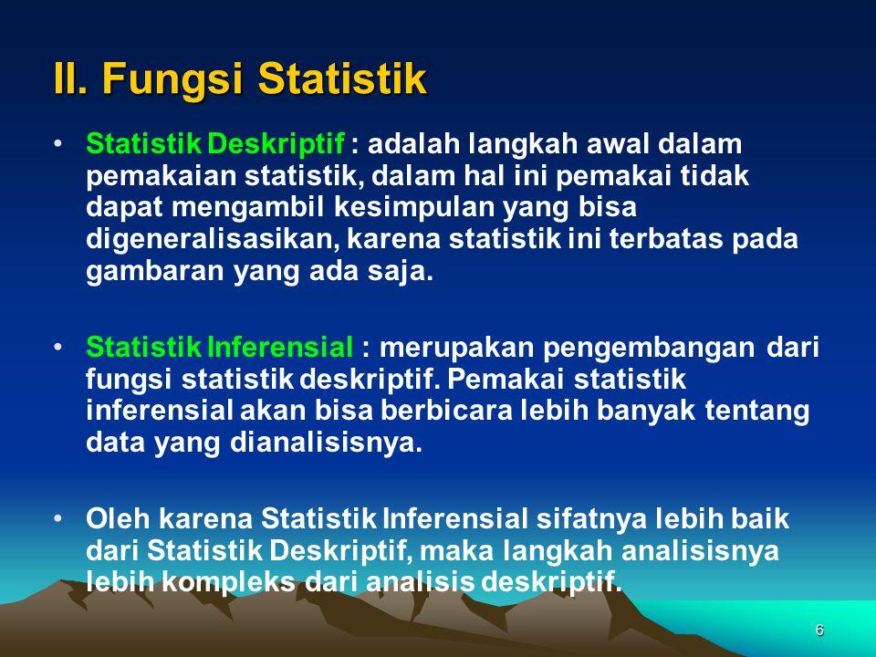 6 II. Fungsi Statistik Statistik Deskriptif : adalah langkah awal dalam pemakaian statistik, dalam hal ini pemakai tidak dapat mengambil kesimpulan ya
