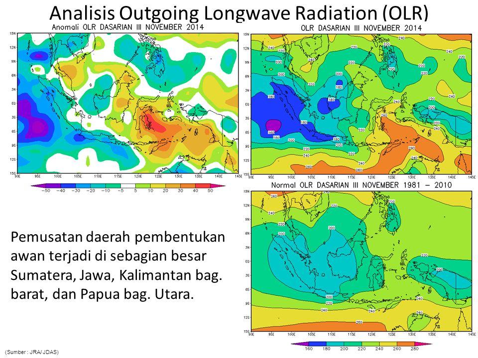 Analisis Outgoing Longwave Radiation (OLR) Pemusatan daerah pembentukan awan terjadi di sebagian besar Sumatera, Jawa, Kalimantan bag.