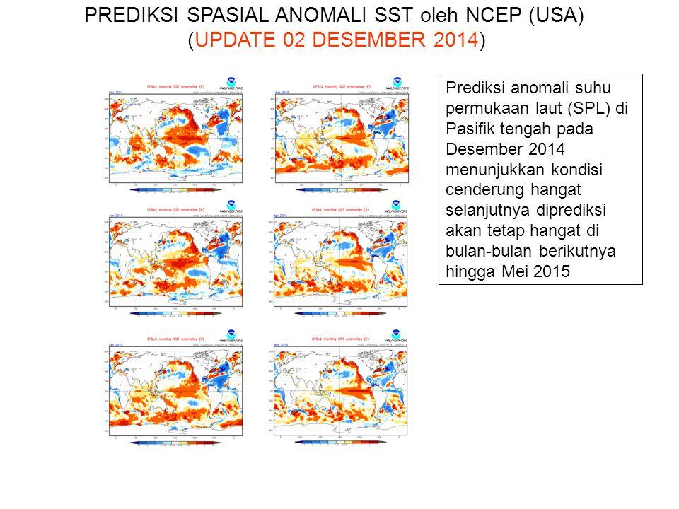 Prediksi anomali suhu permukaan laut (SPL) di Pasifik tengah pada Desember 2014 menunjukkan kondisi cenderung hangat selanjutnya diprediksi akan tetap hangat di bulan-bulan berikutnya hingga Mei 2015 PREDIKSI SPASIAL ANOMALI SST oleh NCEP (USA) (UPDATE 02 DESEMBER 2014)