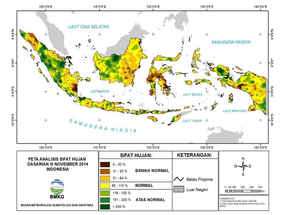 KEJADIAN EL NINO DAN DIPOLE MODE 1981 – sekarang Sumber : NOAA EN/LN Lemah ± 0.5 – 1.0 0 C EN/LN Moderate ± 1.0 – 2.0 0 C EN/LN Kuat > ± 2.0 0 C Level EN/LN & DM Dipole Mode (DM) Normal ±0.4 0 PERIODE EL NINO Anomali Suhu Muka Laut ( 0 C) Pasifik Tengah (El Nino/ La Nina) Perairan Indonesia Samudera Hindia (Dipole Mode) AMJ 1982 – MJJ 1983+ 2.3-0.60+ 2.20 JAS 1986 – JFM 1988+ 1.6-0.05+ 1.88 AMJ 1991 – JJA 1992+ 1.8-0.23+ 1.56 AMJ 1994 – FMA 1995+ 1.3-0.52+ 2.73 AMJ 1997 – AMJ 1998+ 2.7 s/d +3.2-0.29+ 3.22 AMJ 2002 – FMA 2003+ 1.50.17+ 0.96 MJJ 2004 – JFM 2005+ 0.9-0.06- 0.19 JAS 2006 - DJF 2006/07+ 1.1-0.25+ 1.59 JJA 2009- MAM 2010+1.6+0.55+0.08 November 2014 30 November 2014 +0.83 +0.94 +0.21 +0.66 +0.02 +0.23